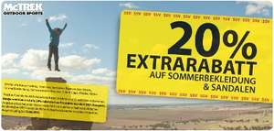 Sommermode mit 20% Extrarabatt bei McTREK Outdoor Sports