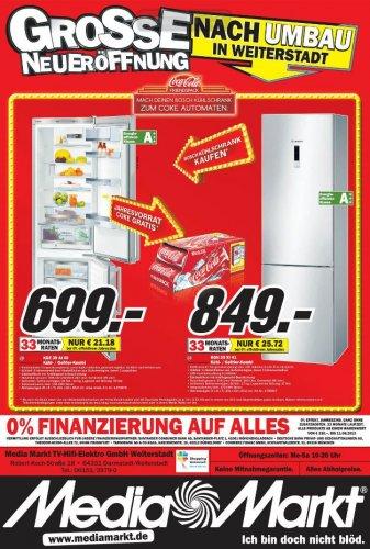 Bei Kauf eines Boschkühlschranks Jahresvorrat Coke gratis!