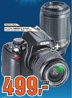 Saturn Reutlingen: Nikon D5000 Kit mit 18-55mm und 55-200mm für 499€