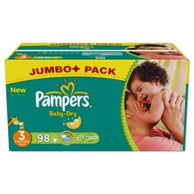 Pampers Baby dry Gr. Midi Jumbopack 98Stück (18 cent je Windel)