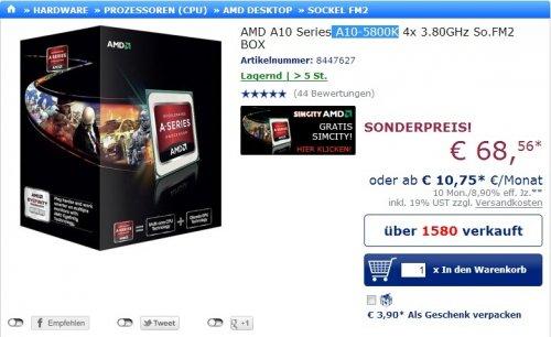 Mindstar:A10-5800K für 68,56€ + Versand