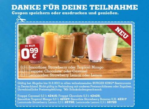 [Burger King] Frappé, Smoothie oder Frozen Lemonade - 0,3 l für je 0,99€