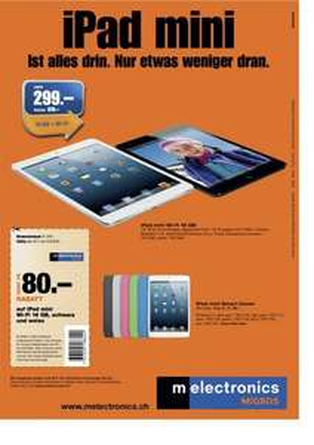 Schweiz: iPad mini 16 GB Wifi schwarz oder weiss  für 242,50 €
