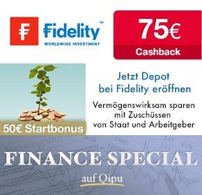 Fidelity ist wieder da: 75€ Cashback über qipu & 50€ Startguthaben - auch als VL Sparplan nutzbar.