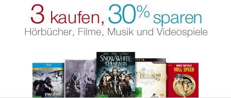 3 kaufen und 30% sparen - Blu-Rays (3 für 21€), DVDs, Videospiele, Musik, Hörbücher