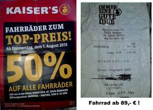 [Lokal] Kaiser's Remagen: Fahrräder mit 50% Rabatt / Fahrrad somit ab 89 €