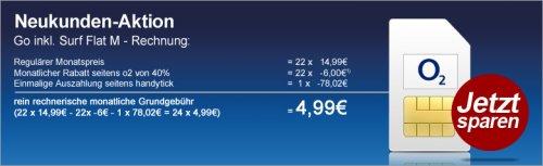 Handytick: o2 Go 1 GB Surf Flat M Aktion 24 Monate a 4,99 €