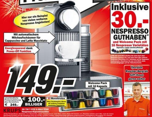 Krups  XN 730 T Citiz & Milk Titan Nespresso Kapselmaschine + 16 Nespresso Kapseln + 30 Euro Nespresso Guthaben im Mediamarkt Bayreuth für 149 Euro
