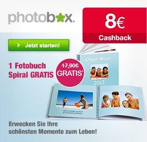 Photobox: Spiral Fotobuch gratis (plus 5,90 € Versand, aber 8 € Qipu, nur für Neukunden)