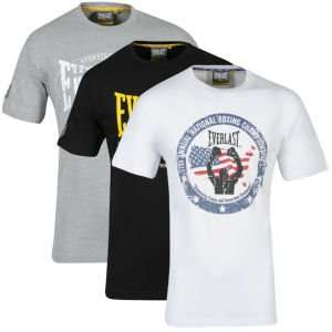 Everlast Men's 3-Pack Graphic T-Shirts - White/Black/Grey Marl für 12,39€ bei zavvi.com