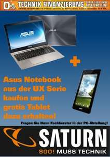 Beim Notebookkauf (Asus UX-Ultrabookserie) Asus Memopad geschenkt!