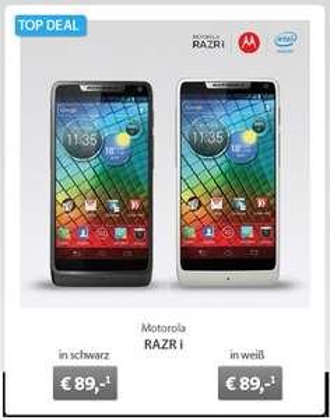 Motorola RAZR i für effektiv 89€ bei Sparhandy (in weiß und schwarz) - nächster Idealo-Preis: 268,65 €
