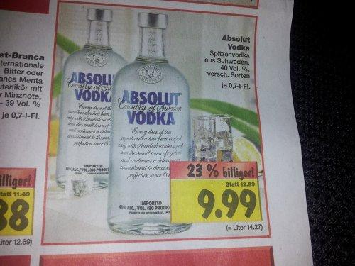 Absolut Vodka Bundesweit im Kaufland 0,7l für 9,99 Euro