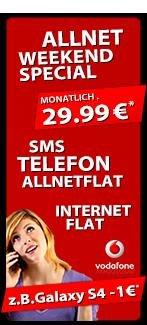 Vodafone Allnet-Flat 29,99EUR GG + S4 Active, IP5,S4 Zoom uvm. ab 1€