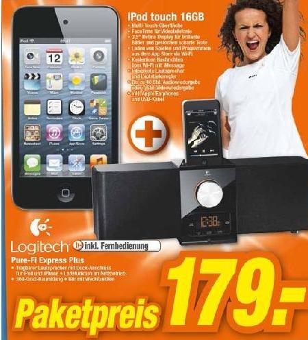 Ipod Touch 16 GB 4G + Logitech Pure-Fi Express Plus 179 € Hem Expert Märkte