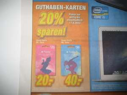 expert iTunes Karte 20% Rabatt auf 25.- und 50.-