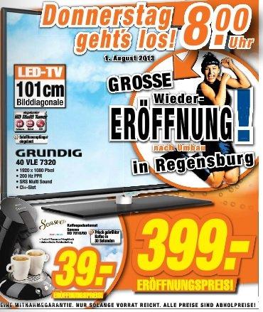 Grundig 40 VLE 7320 für 399 Euro oder Philips Senseo 2 HD 7810/60 für 39 Euro im Expert Regensburg, Kehlheim und Neustadt