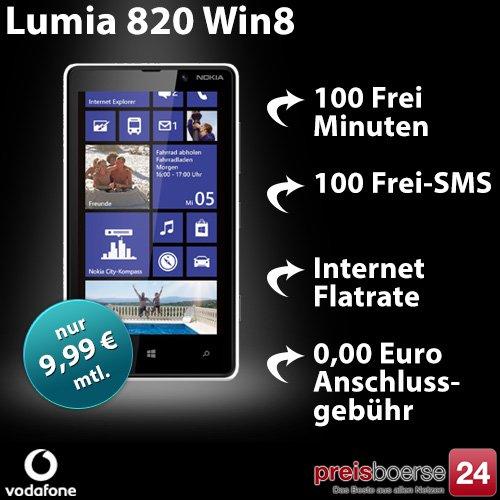 Nokia Lumia 820 + 100 Min & SMS + Internet nur 9,99€ montl. für 0,-- Zuzahlung