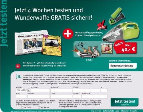 [WEBCENT] 4 Wochen Süddeutsche Zeitung, 15€ amazon Gutschein + Cleanmaxx Handsauger für 31,80€