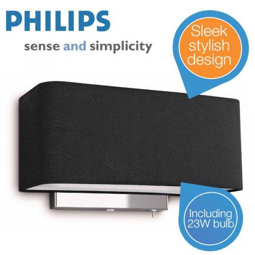 Philips InStyle Wandleuchte 36337 Schwarz UK mit Adapter für 55,90€ @iBOOD (idealo 99,64€)