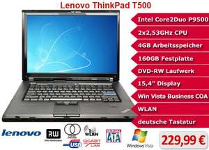 "Lenovo ThinkPad T500 Core2Duo 2,53GHz 4GB 160GB 15,4""  inkl. 10,- EUR Gutschein"