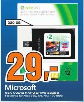 320 GB Platte für XBox inkl. Spiele im Saturn Erfurt für 29,00 Euro