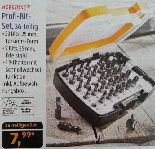 [Aldi-Süd] Workzone Profi-Bit-Set, 36-teilig für 7,99€ ab dem 12.08.