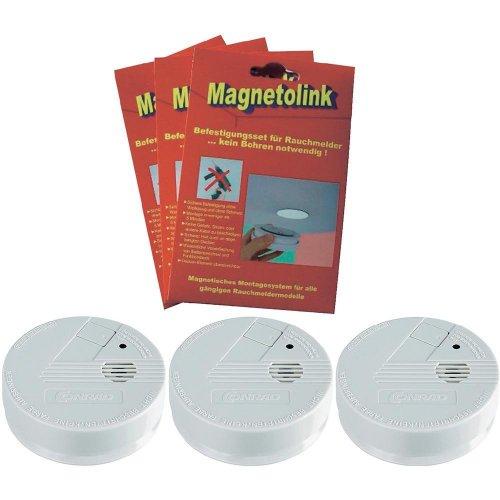[conrad] 3er-Set Rauchmelder 9V + Magnetolink Befestigung für 15,89€ mit 5€-Gutschein + 6%-Qipu