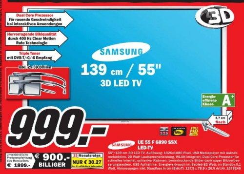 [ MM Baden Baden ] Samsung UE55F6890 139 cm (55 Zoll) 3D-LED-Backlight-Fernseher, EEK A+ (Full HD, 400Hz CMR, DVB-T/C/S2, CI+, WLAN, Smart TV, HbbTV, Sprachsteuerung) schwarz