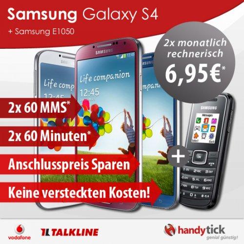 Samsung Galaxy S4 & E1050 +Tarif Vodafone 2x 60 Min rech 2x 6,95€mtl* (Schubladenverträge 372,60€)
