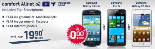 comfort Allnet O2 mit 500MB und S3 mini oder S2 plus für nur 19,90€ ( Handytick)