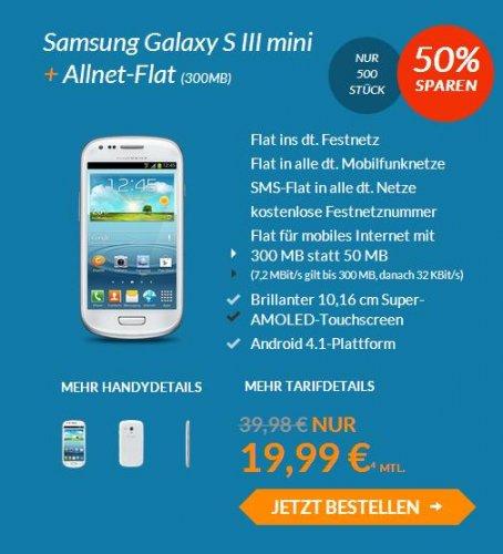 Samsung Galaxy S3 Mini + Allnet Flat für 19,99 €