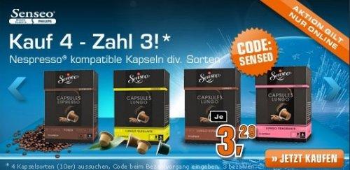 [SATURN online] 4x Senseo Capsules (Nespresso geeignet) versch. Sorten für 9,84 € - entspricht 2,46€ pro 10er Packung - (4 kaufen, 3 zahlen)