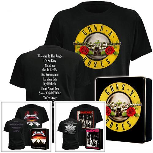 Band-Shirts: Guns N' Roses, Metallica, Ramones  --  M, L, XL