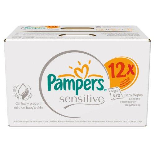 [Amazon] Pampers Feuchte Tücher Sensitive mit Kamille Gigapack, 672 Tücher für 12,38€