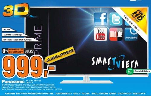 [Saturn Krefeld] Panasonic TX-L50ETW60 126 cm (50 Zoll) 3D LED-Backlight-Fernseher, EEK A++ (Full HD, 600Hz bls, DVB-S/T/C, Smart TV, WLAN, USB) silber