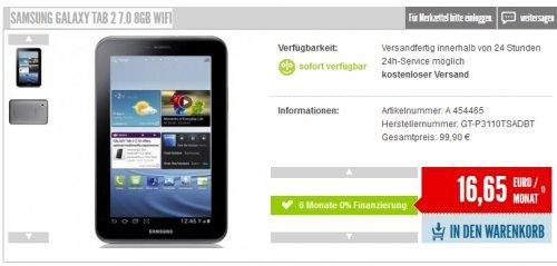 Samsung Galaxy Tab 2 7.0 8GB WiFi, grau für 99,90 EUR - keine Versandkosten
