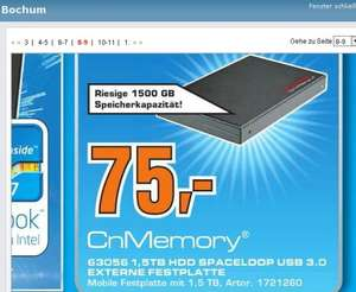 [ Saturn Bochum  ] CnMemory Festplatte extern 2,5 USB 3.0 SPACELOOP  1500 GB  75€