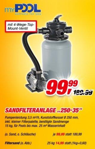 MyPool Sandfilteranlage 250-35 nur noch bis morgen im Toom-Baumarkt für 99,99€