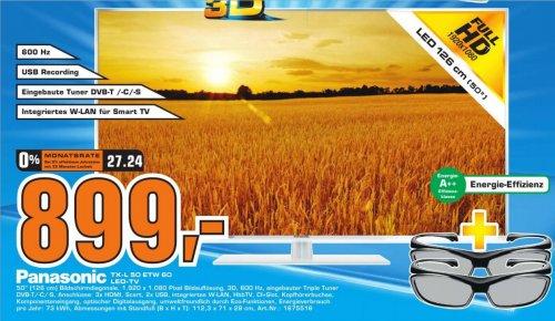 [Saturn Köln-Weiden] Panasonic TX-L50ETW60 126 cm (50 Zoll) 3D LED-Backlight-Fernseher, EEK A++ (Full HD, 600Hz bls, DVB-S/T/C, Smart TV, WLAN, USB) Ersparnis 23%