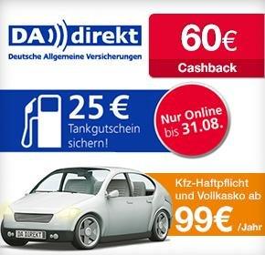 [Qipu] DA Direkt: 25€ Tankgutschein + 60€ Cashback für Kfz-Versicherungs-Wechsel