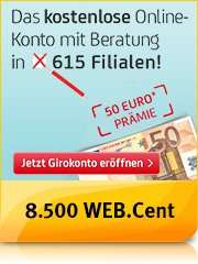 Wieder da und noch besser: Das kostenlose HypoVereinsbank Online-Konto + 50,- Euro Prämie + 8.500 WEB.Cent (85,- Euro)