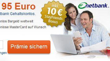 Netbank Gratis-Girokonto + 95€ für Gehaltskonto; 60€ ohne Gehaltseingang
