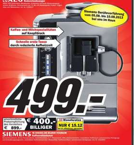 Siemens Te 506501 Kaffeevollautomat Idealo-Preis 646€  Media Markt Porta Westfalica