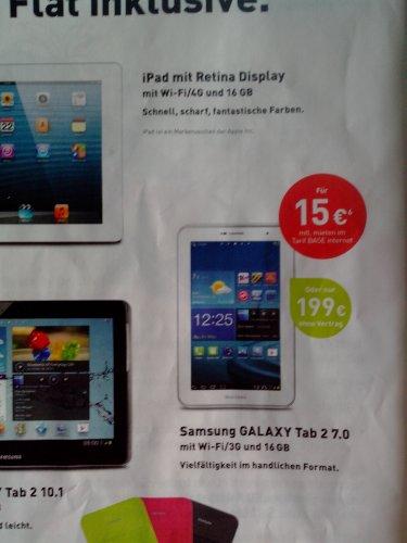 GalaxyTab2 7.0 16GB mit 3G  für 199€ bei Base