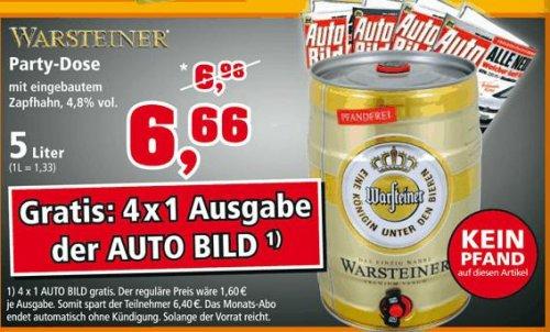 Warsteiner 5-Liter-Party-Dose inkl. 4 Ausgaben der Autobild (Wert 6.80 €) für 6.66 Euro