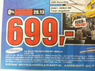 Samsung LE46C750 wieder für 699,- bei Saturn in Köln (@Offline)