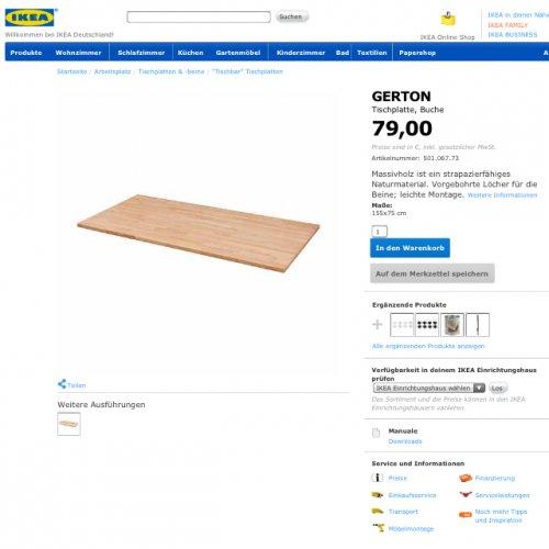 Ikea Gerton Tischplatte massiv Buche