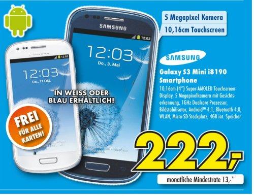 Euronics XXL Samsung Galaxy S3 mini blau oder weiß für nur 222 Euro