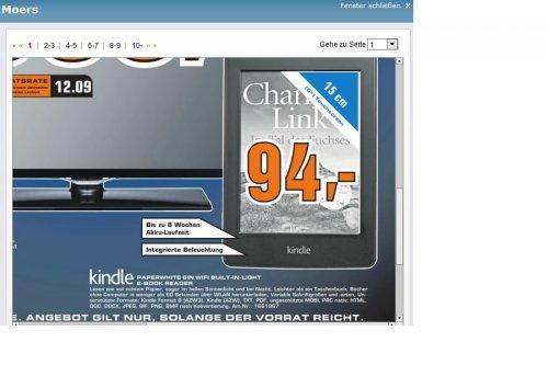 [Saturn Moers ] Amazon Kindle Paperwhite WiFi  eBook Reader für 94,- €